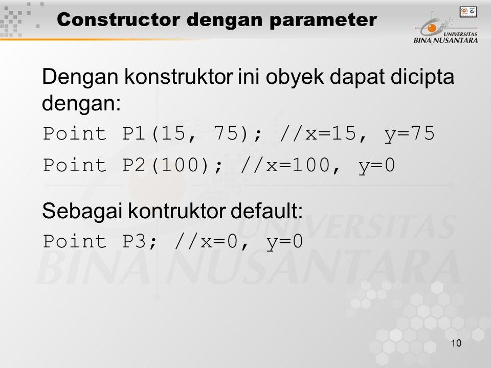 10 Dengan konstruktor ini obyek dapat dicipta dengan: Point P1(15, 75); //x=15, y=75 Point P2(100); //x=100, y=0 Sebagai kontruktor default: Point P3;