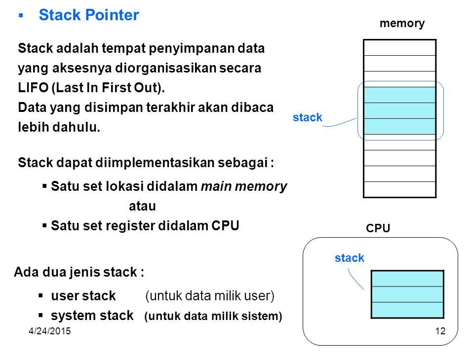 4/24/201512  Stack Pointer Stack adalah tempat penyimpanan data yang aksesnya diorganisasikan secara LIFO (Last In First Out).