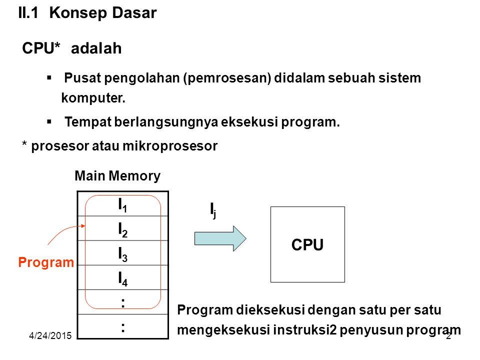 4/24/201533 Eksekusi 1 instruksi dilakukan dalam 1 instruction cycle, yang terdiri dari langkah langkah sbb : (1) Baca (Fetch) instruksi yang akan di eksekusi dari memory ke CPU.