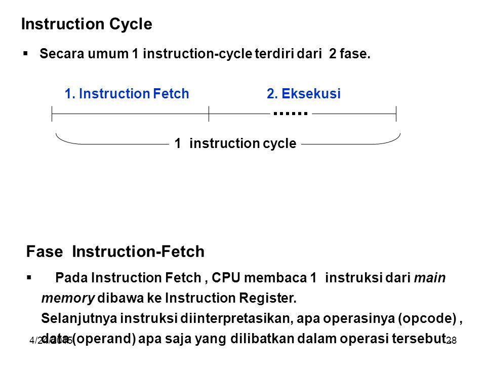 4/24/201528  Secara umum 1 instruction-cycle terdiri dari 2 fase.