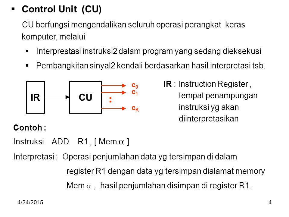 4/24/20155  Arithmetic & Logic Unit (ALU) ALU berfungsi melaksanakan operasi2 aritmatika dan operasi2 logika sesuai dengan perintah yang terkandung dalam tiap instruksi.
