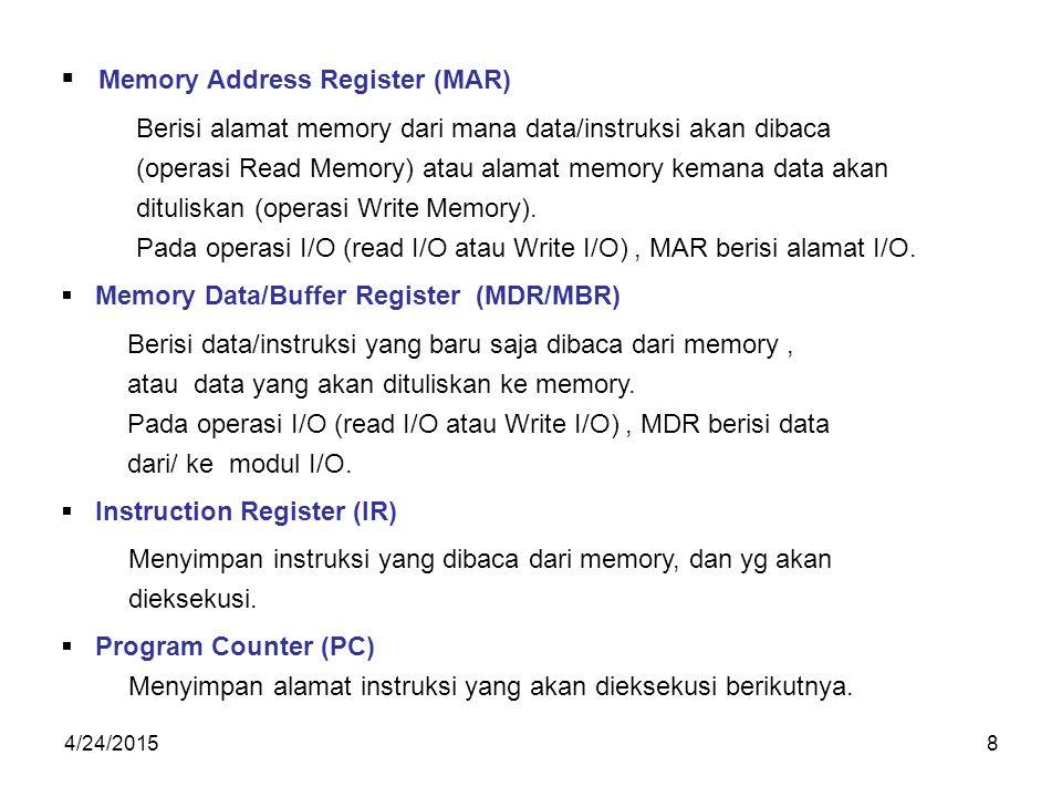 4/24/20158  Memory Address Register (MAR) Berisi alamat memory dari mana data/instruksi akan dibaca (operasi Read Memory) atau alamat memory kemana data akan dituliskan (operasi Write Memory).