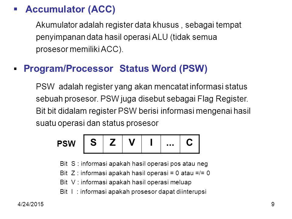 4/24/20159  Accumulator (ACC) Akumulator adalah register data khusus, sebagai tempat penyimpanan data hasil operasi ALU (tidak semua prosesor memiliki ACC).