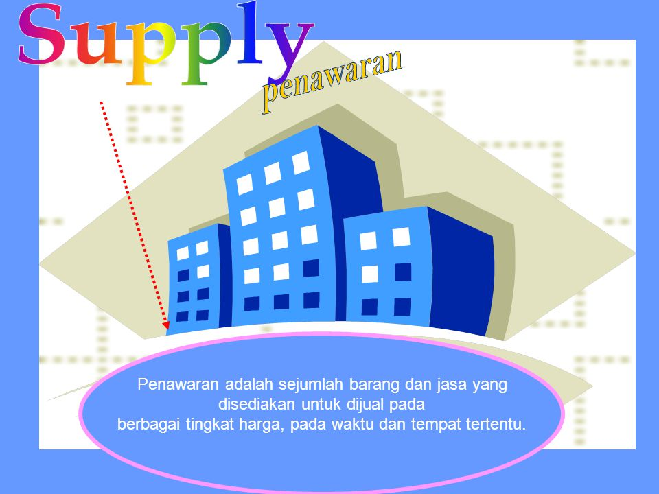 Penawaran adalah sejumlah barang dan jasa yang disediakan untuk dijual pada berbagai tingkat harga, pada waktu dan tempat tertentu.