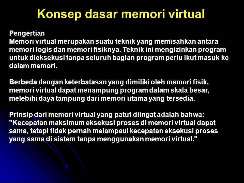 Konsep dasar memori virtual Pengertian Memori virtual merupakan suatu teknik yang memisahkan antara memori logis dan memori fisiknya. Teknik ini mengi