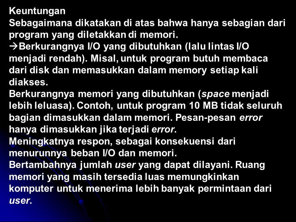 Keuntungan Sebagaimana dikatakan di atas bahwa hanya sebagian dari program yang diletakkan di memori.  Berkurangnya I/O yang dibutuhkan (lalu lintas