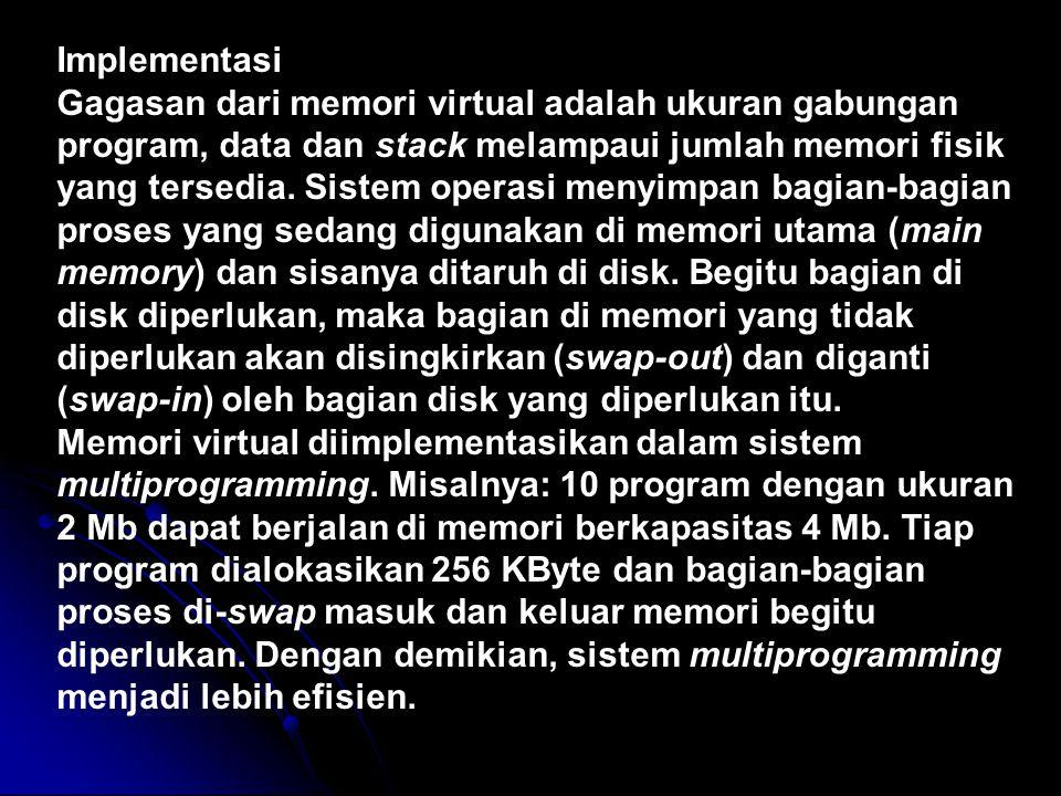 Implementasi Gagasan dari memori virtual adalah ukuran gabungan program, data dan stack melampaui jumlah memori fisik yang tersedia. Sistem operasi me