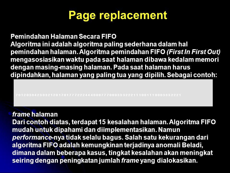 Pemindahan Halaman Secara FIFO Algoritma ini adalah algoritma paling sederhana dalam hal pemindahan halaman. Algoritma pemindahan FIFO (First In First