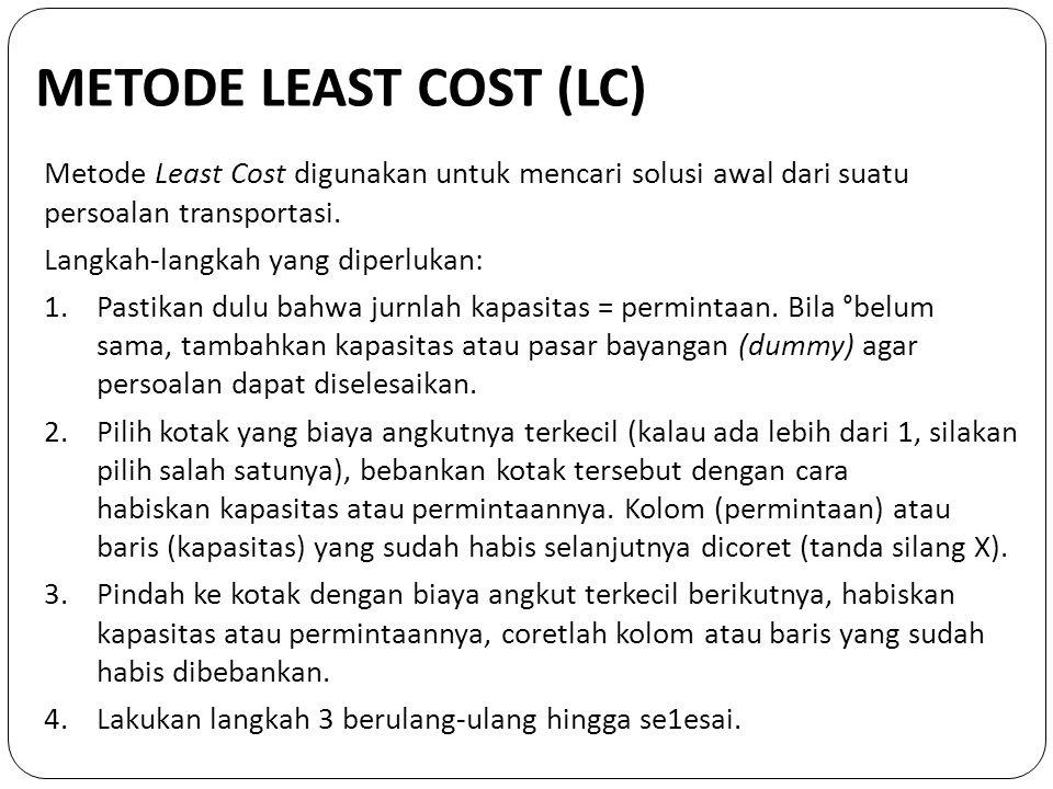 METODE LEAST COST (LC) Metode Least Cost digunakan untuk mencari solusi awal dari suatu persoalan transportasi. Langkah-langkah yang diperlukan: 1.Pas