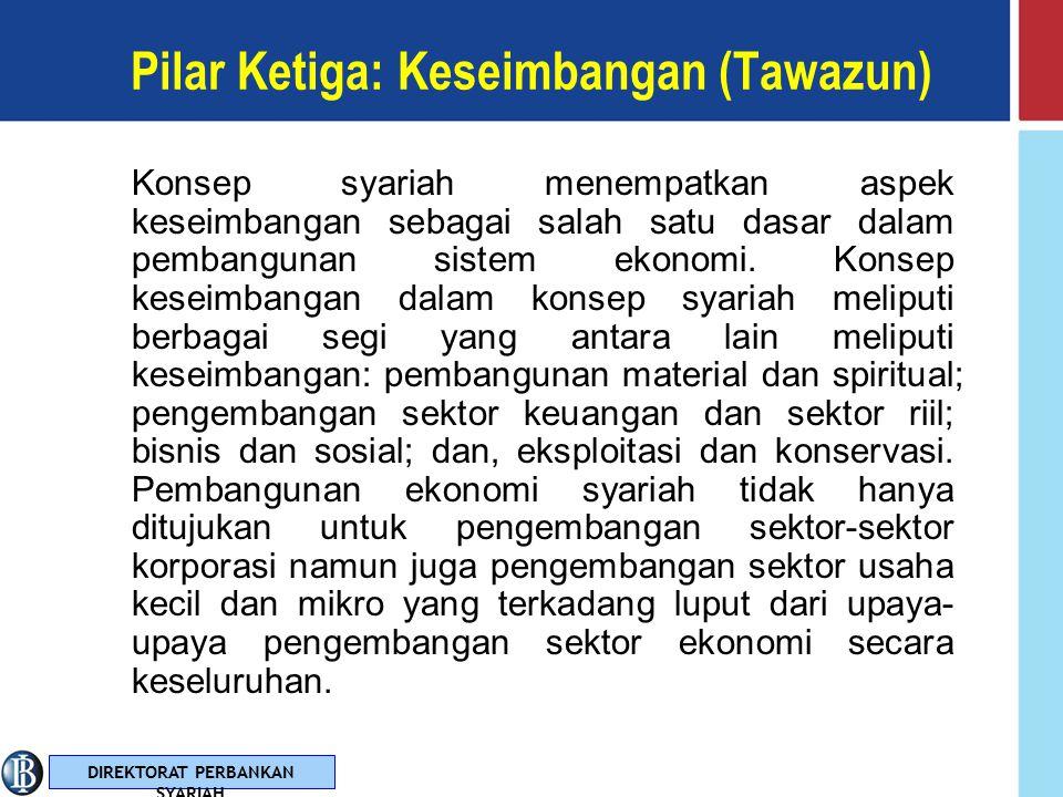 DIREKTORAT PERBANKAN SYARIAH Pilar Kedua: Kemaslahatan (Mashlahah) Hakekat kemaslahatan dalam Islam adalah segala bentuk kebaikan dan manfaat yang berdimensi integral duniawi dan ukhrawi, material dan spiritual, serta individual dan kolektif.