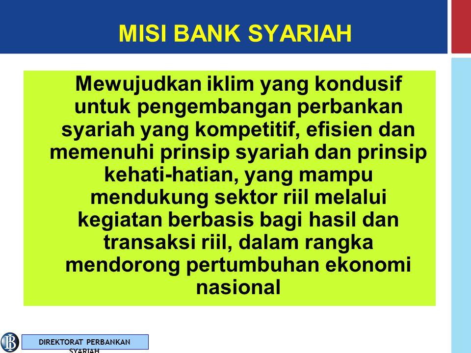 DIREKTORAT PERBANKAN SYARIAH VISI BANK SYARIAH Terwujudnya sistem perbankan syariah yang sehat, kuat dan istiqamah terhadap prinsip syariah dalam kera