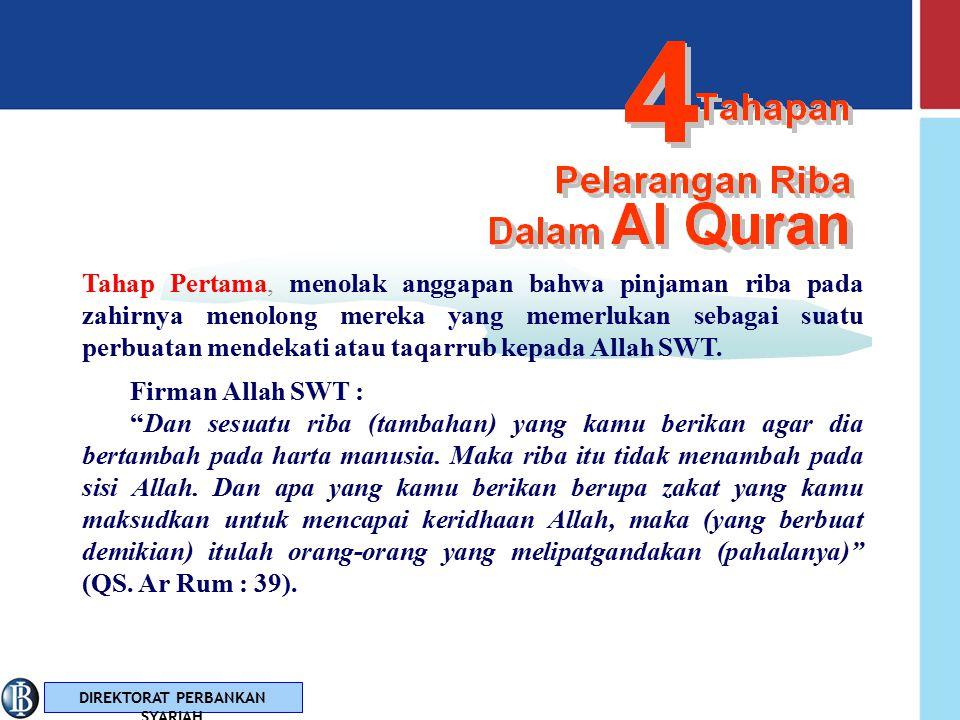DIREKTORAT PERBANKAN SYARIAH 44 Larangan yang terdapat dalam Al Qur'an tidak diturunkan sekaligus melainkan secara bertahap Tahapan Pelarangan Riba Dalam Al Quran