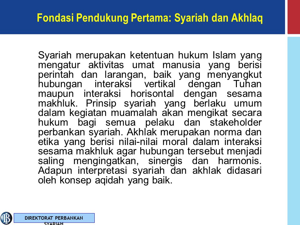 DIREKTORAT PERBANKAN SYARIAH Fondasi Dasar: Aqidah Aqidah adalah suatu ideologi samawi yang membentuk paradigma dasar bahwa alam semesta dicipta oleh