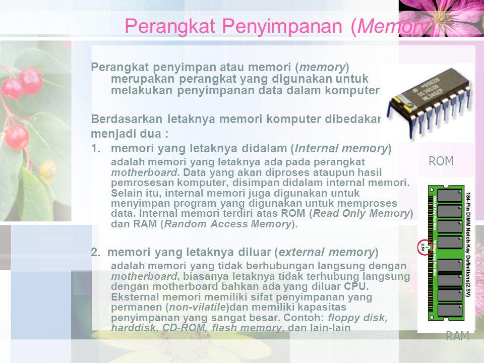 Perangkat Penyimpanan (Memory) Perangkat penyimpan atau memori (memory) merupakan perangkat yang digunakan untuk melakukan penyimpanan data dalam komputer.