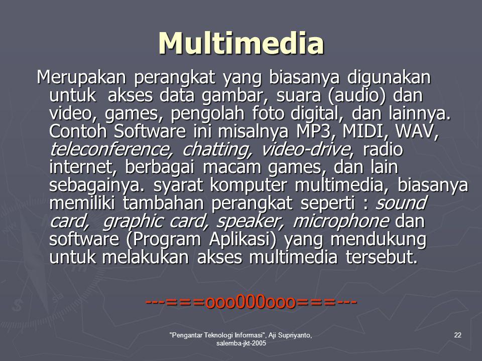 Pengantar Teknologi Informasi , Aji Supriyanto, salemba-jkt-2005 22 Multimedia Merupakan perangkat yang biasanya digunakan untuk akses data gambar, suara (audio) dan video, games, pengolah foto digital, dan lainnya.