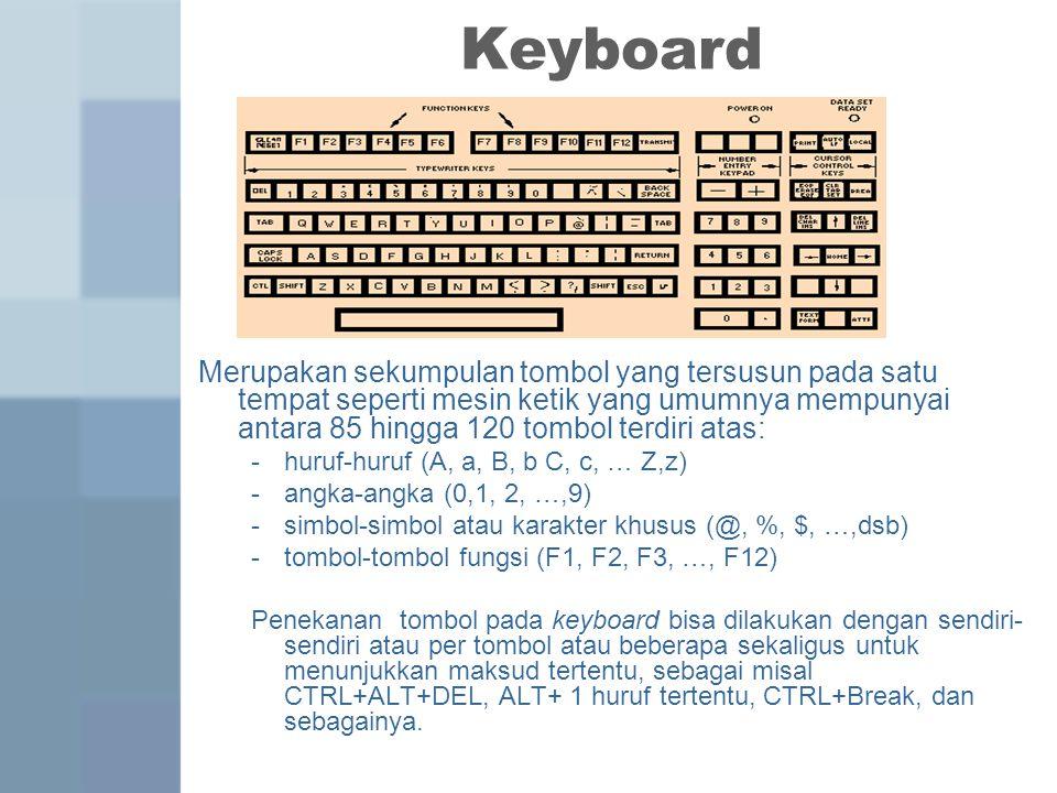 Keyboard Merupakan sekumpulan tombol yang tersusun pada satu tempat seperti mesin ketik yang umumnya mempunyai antara 85 hingga 120 tombol terdiri atas: -huruf-huruf (A, a, B, b C, c, … Z,z) -angka-angka (0,1, 2, …,9) -simbol-simbol atau karakter khusus (@, %, $, …,dsb) -tombol-tombol fungsi (F1, F2, F3, …, F12) Penekanan tombol pada keyboard bisa dilakukan dengan sendiri- sendiri atau per tombol atau beberapa sekaligus untuk menunjukkan maksud tertentu, sebagai misal CTRL+ALT+DEL, ALT+ 1 huruf tertentu, CTRL+Break, dan sebagainya.