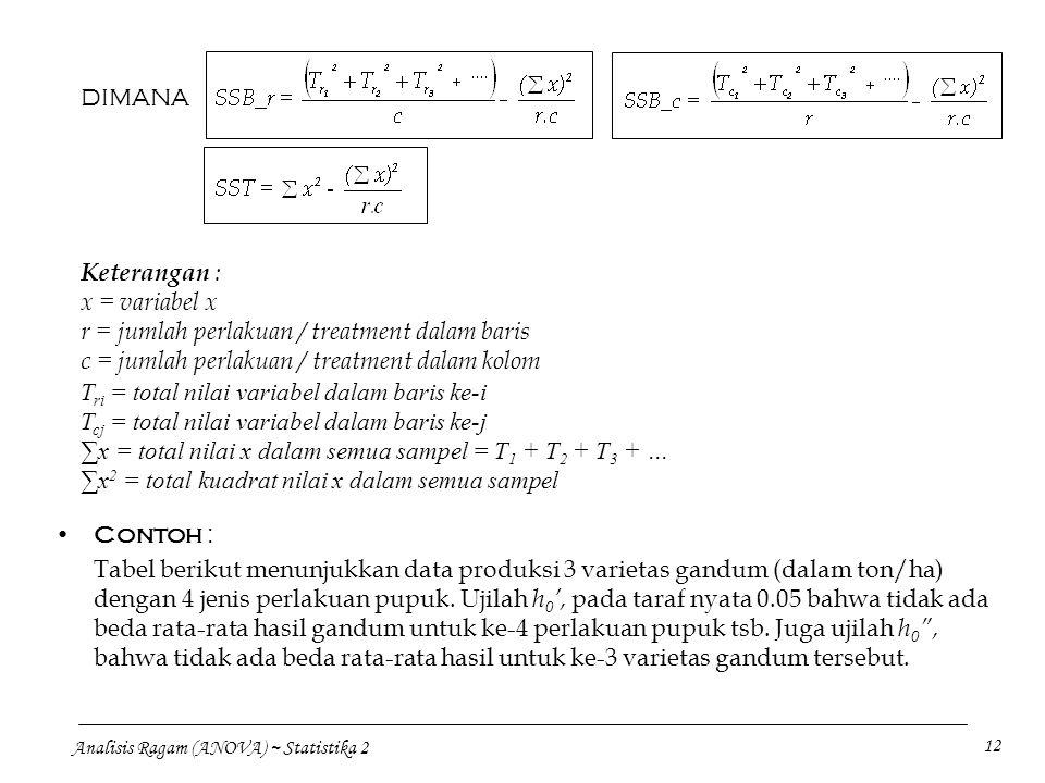 Analisis Ragam (ANOVA) ~ Statistika 2 12 DIMANA Keterangan : x = variabel x r = jumlah perlakuan / treatment dalam baris c = jumlah perlakuan / treatm