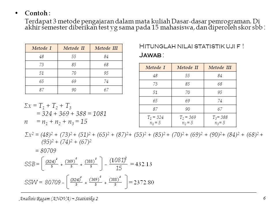 Analisis Ragam (ANOVA) ~ Statistika 2 6 Contoh : Terdapat 3 metode pengajaran dalam mata kuliah Dasar-dasar pemrograman. Di akhir semester diberikan t