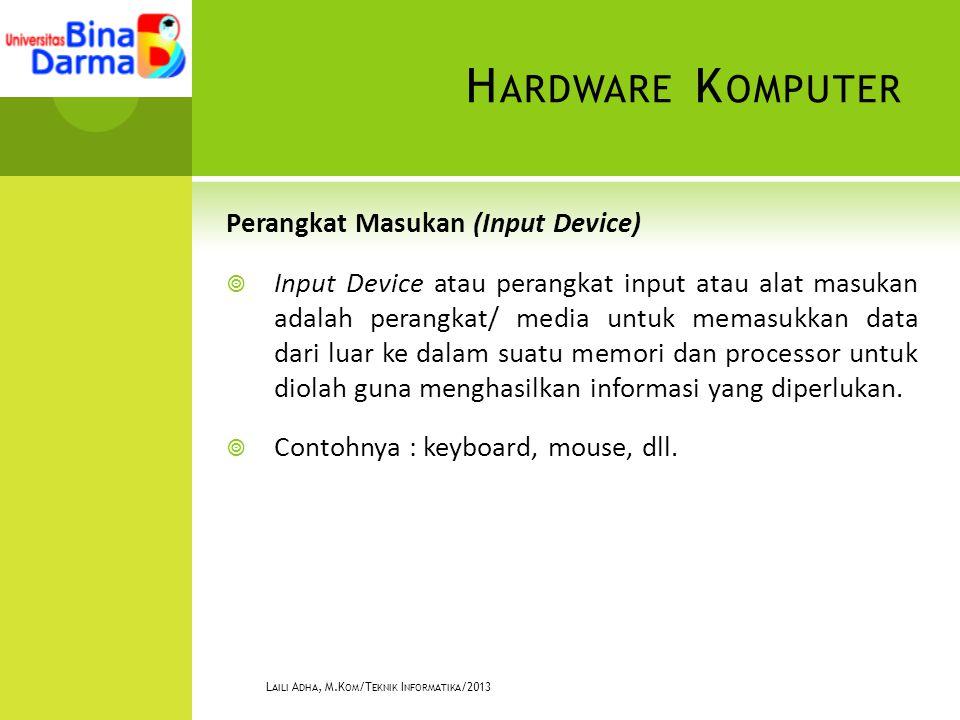 H ARDWARE K OMPUTER Perangkat Masukan (Input Device)  Input Device atau perangkat input atau alat masukan adalah perangkat/ media untuk memasukkan data dari luar ke dalam suatu memori dan processor untuk diolah guna menghasilkan informasi yang diperlukan.