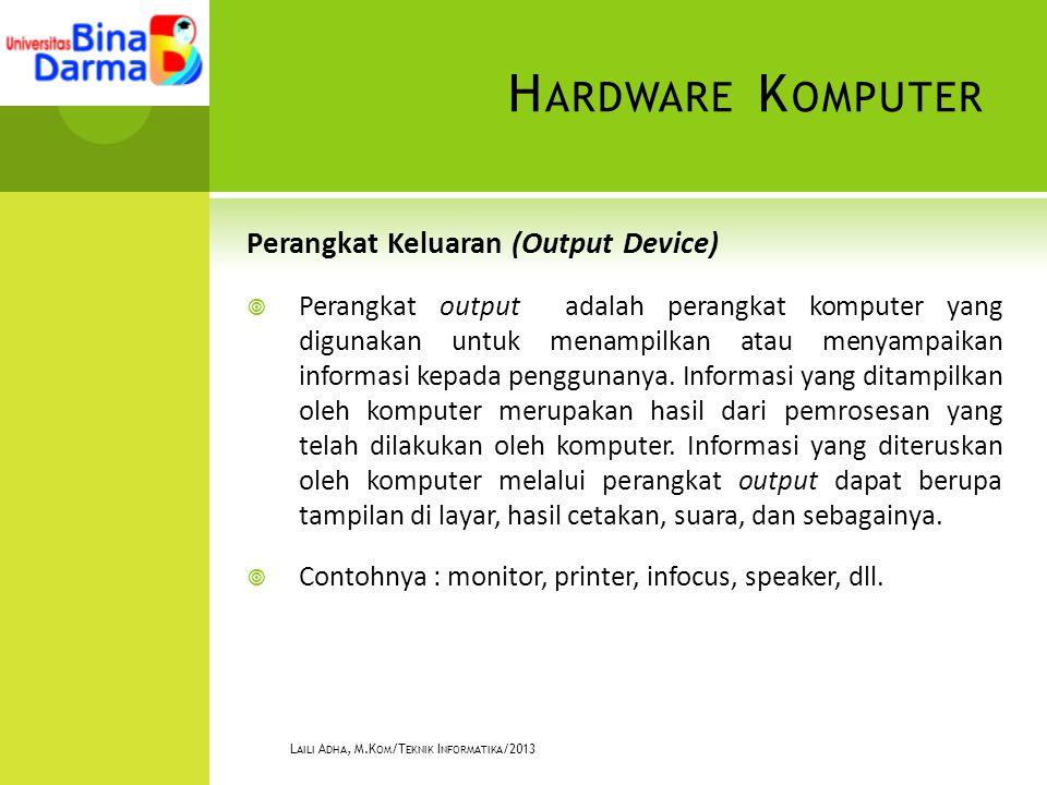 H ARDWARE K OMPUTER Perangkat Keluaran (Output Device)  Perangkat output adalah perangkat komputer yang digunakan untuk menampilkan atau menyampaikan