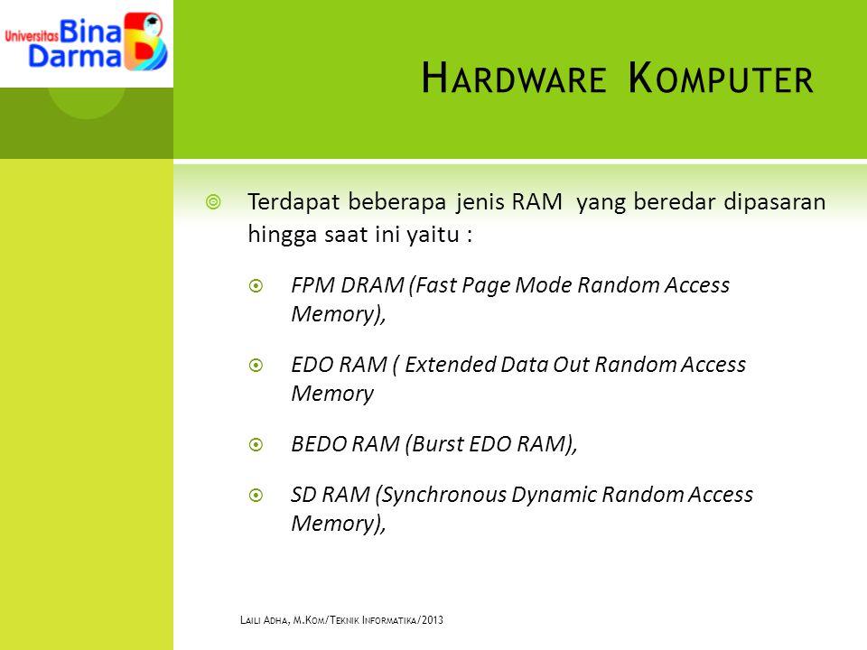 H ARDWARE K OMPUTER  Terdapat beberapa jenis RAM yang beredar dipasaran hingga saat ini yaitu :  FPM DRAM (Fast Page Mode Random Access Memory),  EDO RAM ( Extended Data Out Random Access Memory  BEDO RAM (Burst EDO RAM),  SD RAM (Synchronous Dynamic Random Access Memory), L AILI A DHA, M.K OM /T EKNIK I NFORMATIKA /2013