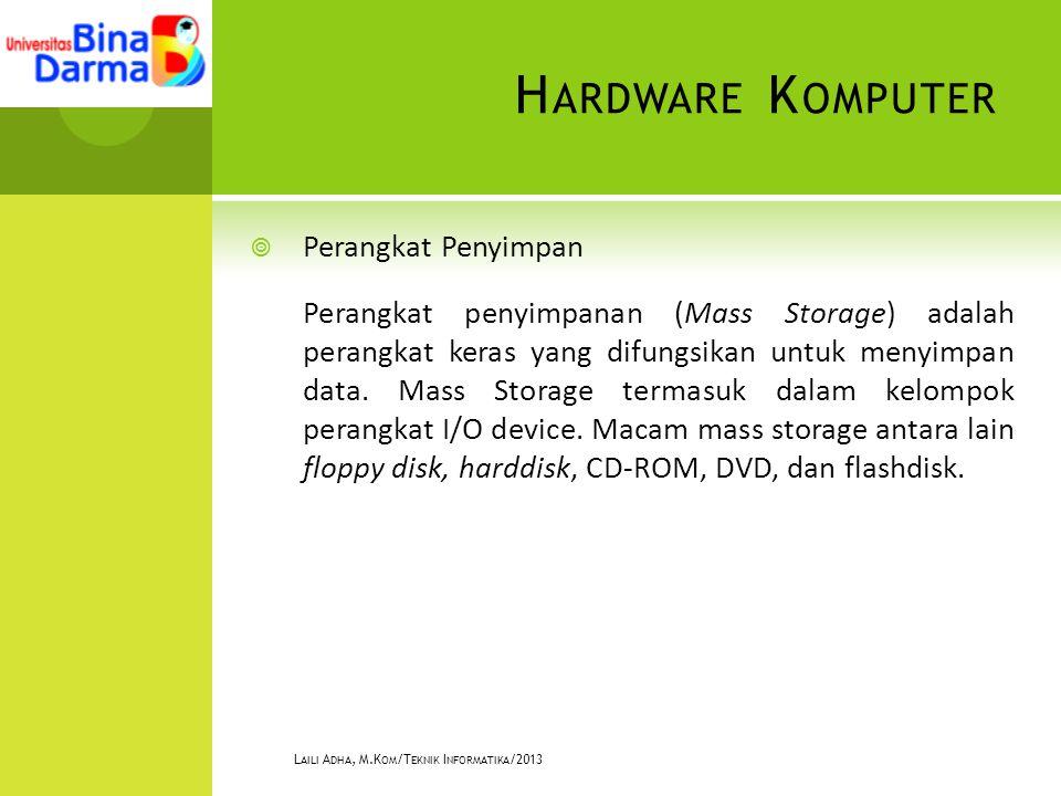 H ARDWARE K OMPUTER  Perangkat Penyimpan Perangkat penyimpanan (Mass Storage) adalah perangkat keras yang difungsikan untuk menyimpan data. Mass Stor