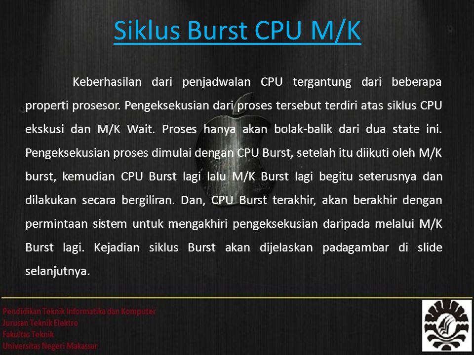 Siklus Burst CPU M/K Keberhasilan dari penjadwalan CPU tergantung dari beberapa properti prosesor. Pengeksekusian dari proses tersebut terdiri atas si