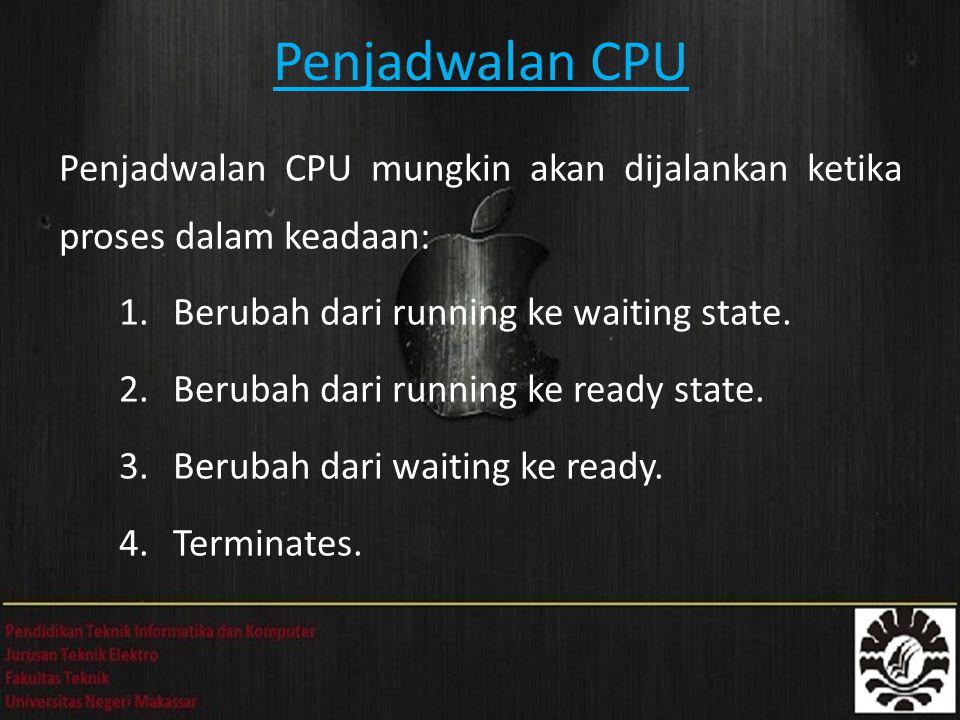 Penjadwalan CPU Penjadwalan CPU mungkin akan dijalankan ketika proses dalam keadaan: 1.Berubah dari running ke waiting state. 2.Berubah dari running k