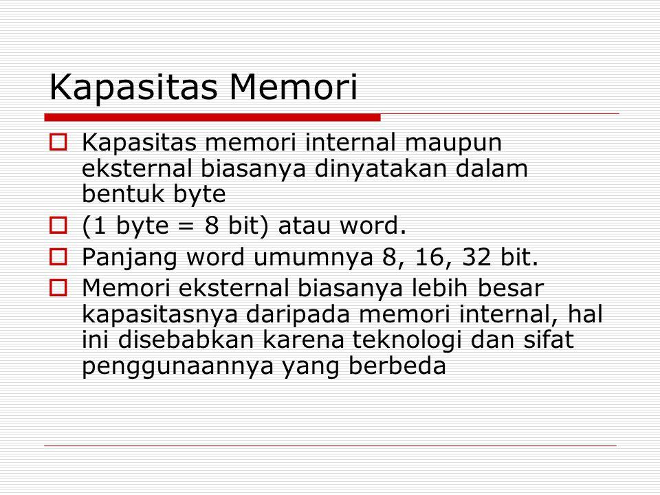 Kapasitas Memori  Kapasitas memori internal maupun eksternal biasanya dinyatakan dalam bentuk byte  (1 byte = 8 bit) atau word.  Panjang word umumn