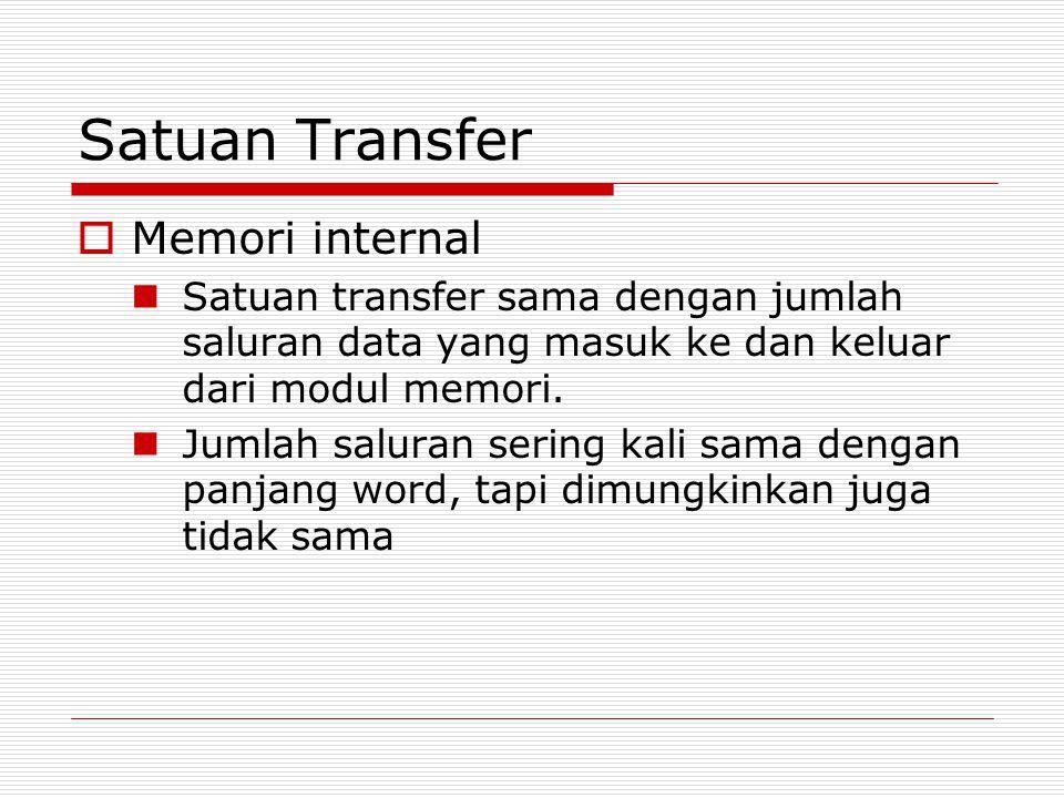 Satuan Transfer  Memori internal Satuan transfer sama dengan jumlah saluran data yang masuk ke dan keluar dari modul memori. Jumlah saluran sering ka