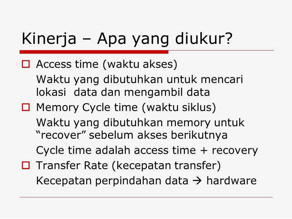 Kinerja – Apa yang diukur?  Access time (waktu akses) Waktu yang dibutuhkan untuk mencari lokasi data dan mengambil data  Memory Cycle time (waktu s