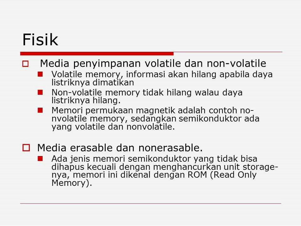 Fisik  Media penyimpanan volatile dan non-volatile Volatile memory, informasi akan hilang apabila daya listriknya dimatikan Non-volatile memory tidak