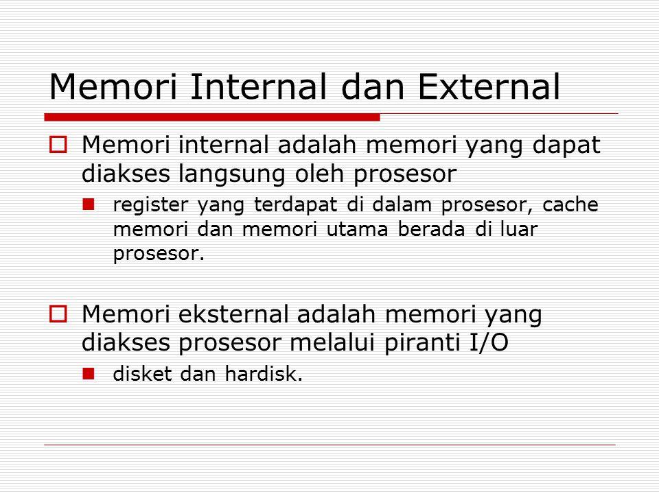 Memori Internal dan External  Memori internal adalah memori yang dapat diakses langsung oleh prosesor register yang terdapat di dalam prosesor, cache