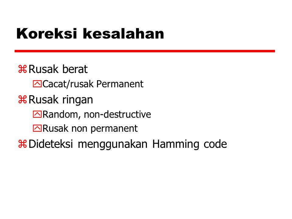 Koreksi kesalahan zRusak berat yCacat/rusak Permanent zRusak ringan yRandom, non-destructive yRusak non permanent zDideteksi menggunakan Hamming code