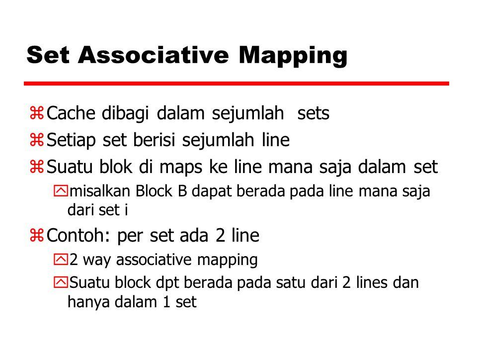 Set Associative Mapping zCache dibagi dalam sejumlah sets zSetiap set berisi sejumlah line zSuatu blok di maps ke line mana saja dalam set ymisalkan B