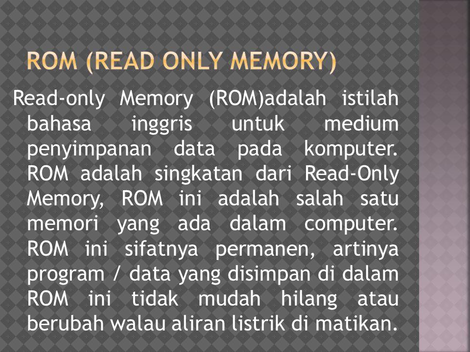 Salah satu contoh ROM adalah ROM BIOS yang berisi program dasarsystem komputer yang mengatur / menyiapkan semua peralatan / komponen yang ada dalam komputersaat komputer dihidupkan.
