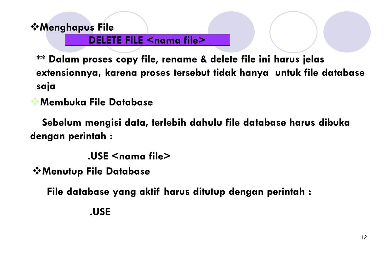 12  Menghapus File DELETE FILE ** Dalam proses copy file, rename & delete file ini harus jelas extensionnya, karena proses tersebut tidak hanya untuk