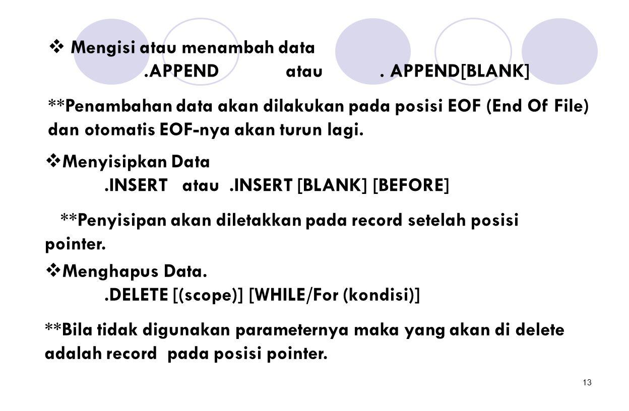 13  Mengisi atau menambah data.APPEND atau. APPEND[BLANK] **Penambahan data akan dilakukan pada posisi EOF (End Of File) dan otomatis EOF-nya akan tu