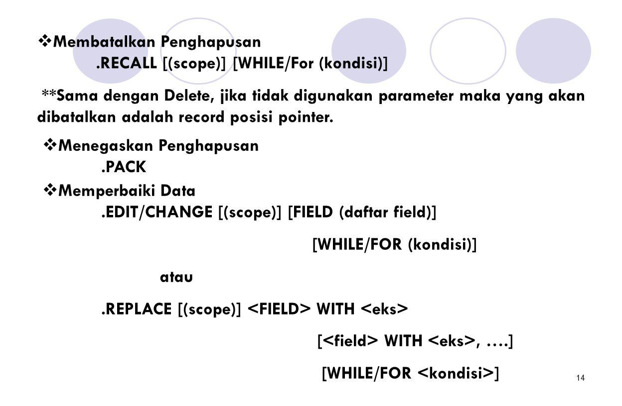 14  Membatalkan Penghapusan.RECALL [(scope)] [WHILE/For (kondisi)] **Sama dengan Delete, jika tidak digunakan parameter maka yang akan dibatalkan ada