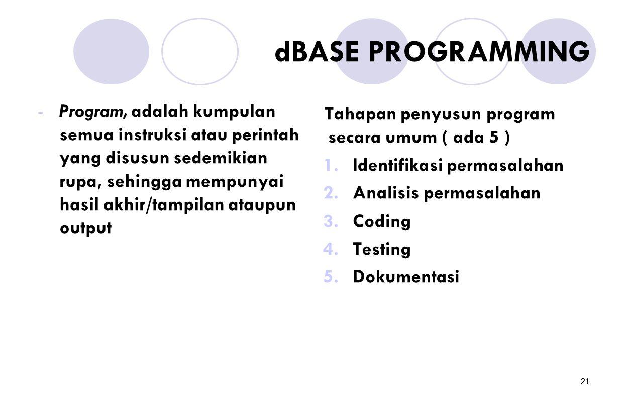 21 dBASE PROGRAMMING -Program, adalah kumpulan semua instruksi atau perintah yang disusun sedemikian rupa, sehingga mempunyai hasil akhir/tampilan ata
