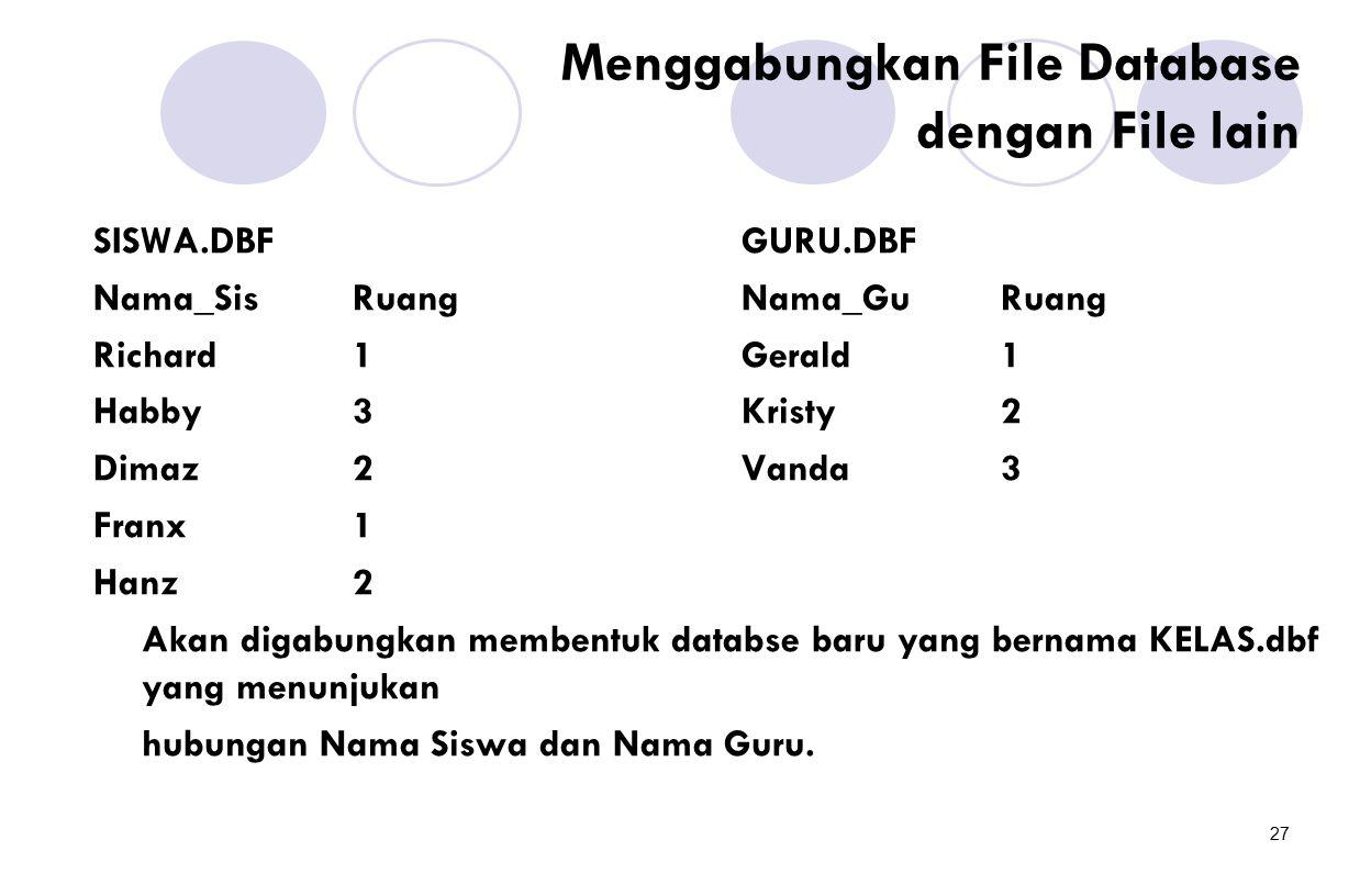 27 Menggabungkan File Database dengan File lain SISWA.DBFGURU.DBF Nama_SisRuangNama_GuRuang Richard1Gerald1 Habby3Kristy2 Dimaz2Vanda3 Franx1 Hanz2 Ak