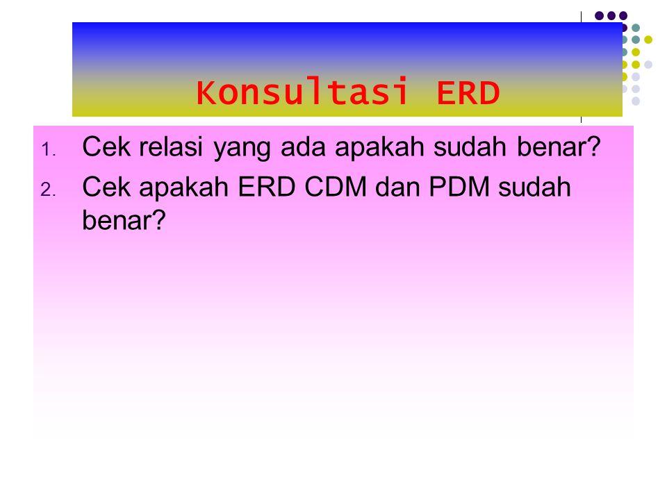 Konsultasi ERD 1. Cek relasi yang ada apakah sudah benar? 2. Cek apakah ERD CDM dan PDM sudah benar?