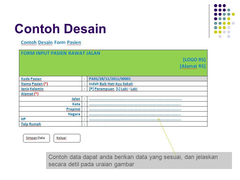 Contoh Desain Contoh data dapat anda berikan data yang sesuai, dan jelaskan secara detil pada uraian gambar