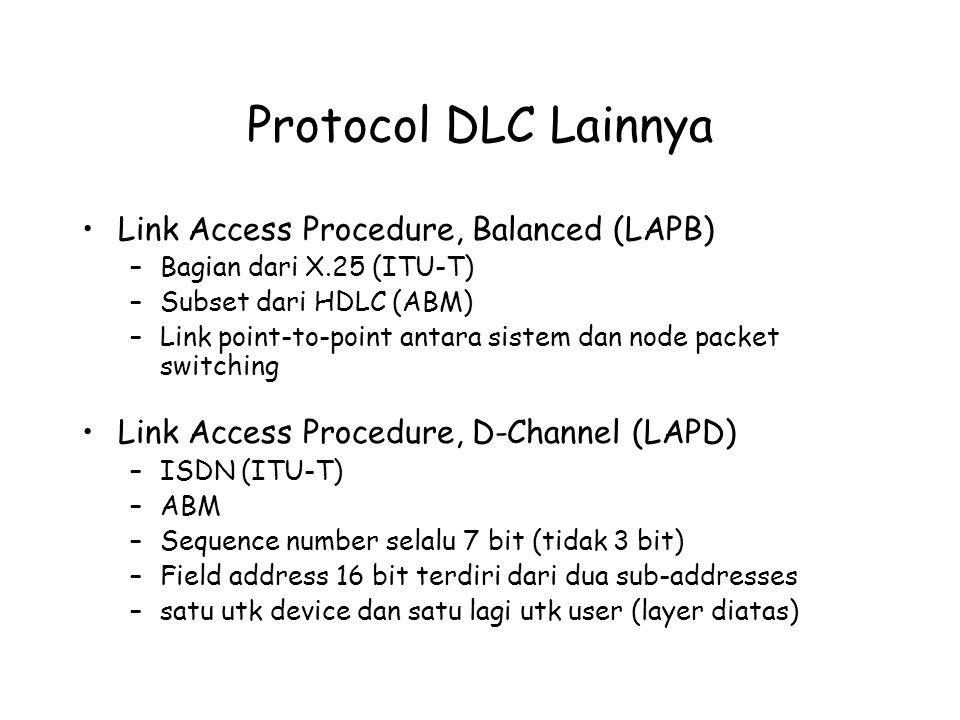 Protocol DLC Lainnya Link Access Procedure, Balanced (LAPB) –Bagian dari X.25 (ITU-T) –Subset dari HDLC (ABM) –Link point-to-point antara sistem dan n