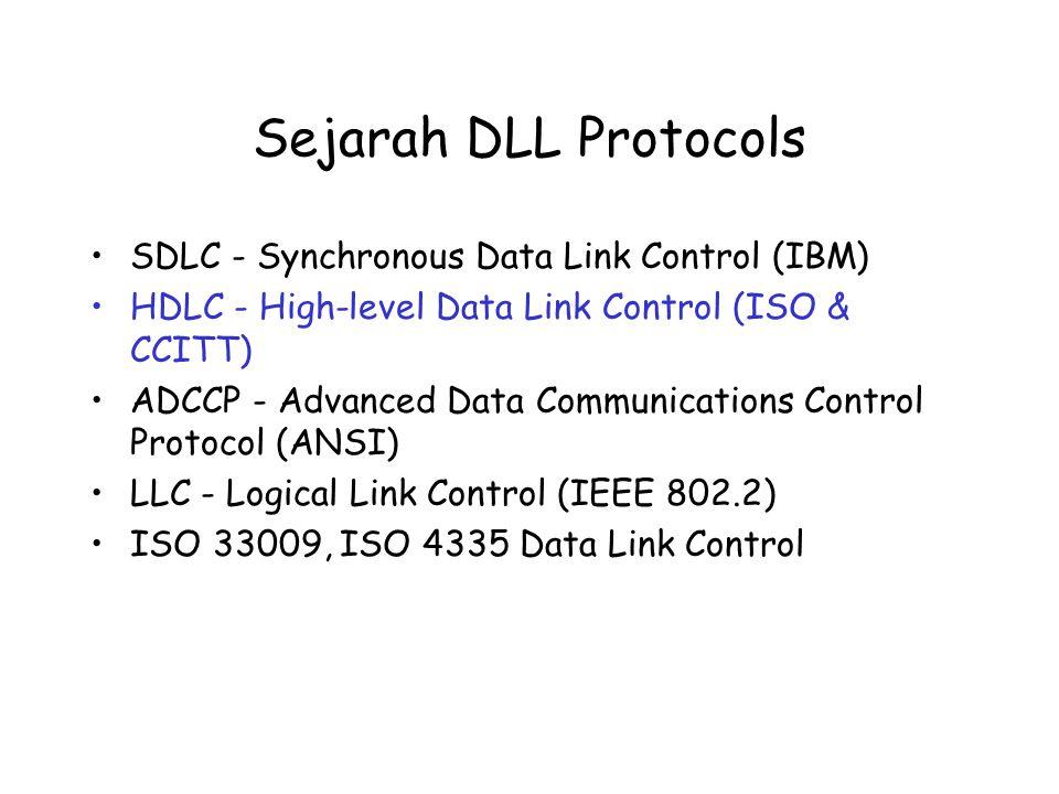 Sejarah DLL Protocols SDLC - Synchronous Data Link Control (IBM) HDLC - High-level Data Link Control (ISO & CCITT) ADCCP - Advanced Data Communication
