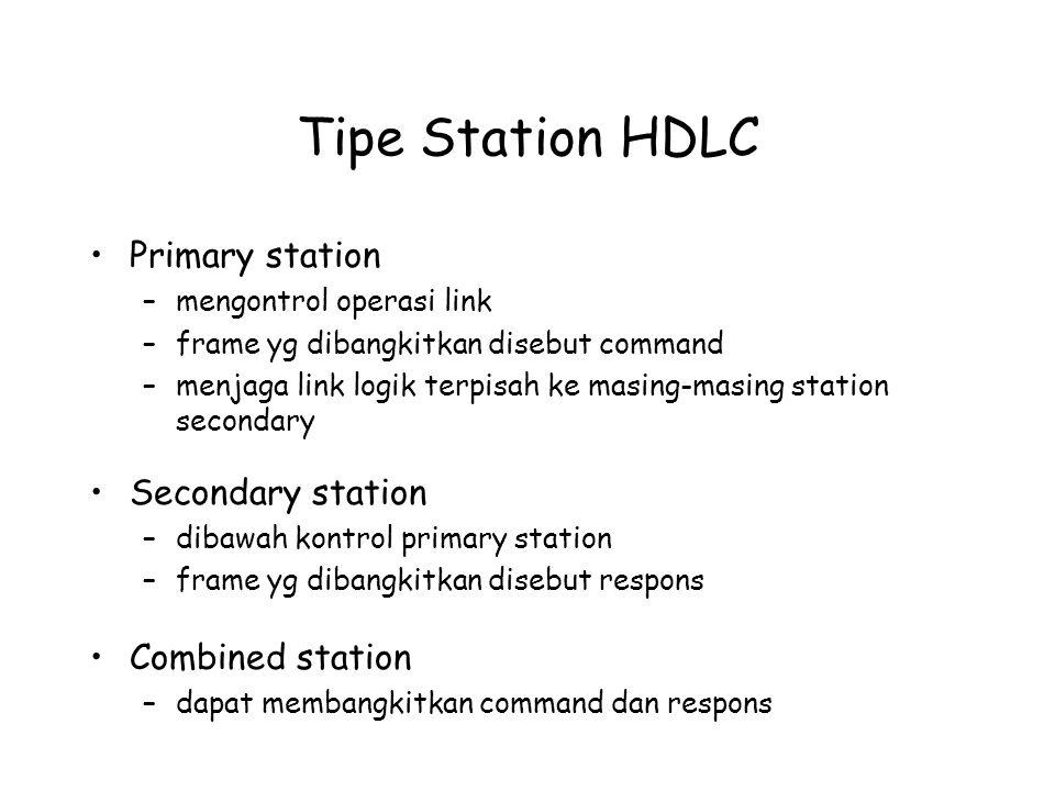 Tipe Station HDLC Primary station –mengontrol operasi link –frame yg dibangkitkan disebut command –menjaga link logik terpisah ke masing-masing statio