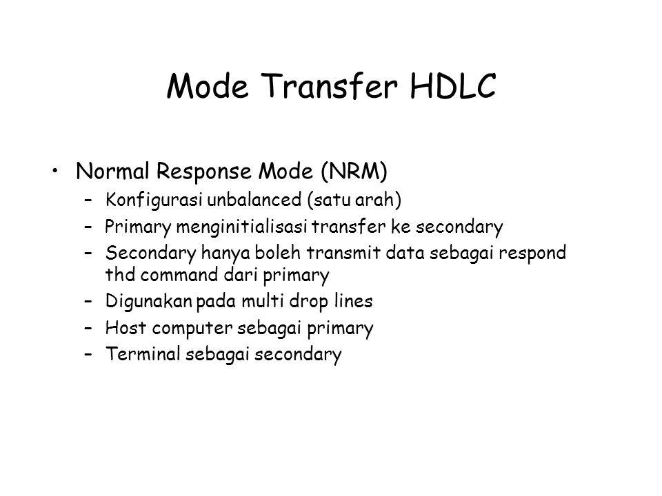 Mode Transfer HDLC Normal Response Mode (NRM) –Konfigurasi unbalanced (satu arah) –Primary menginitialisasi transfer ke secondary –Secondary hanya bol