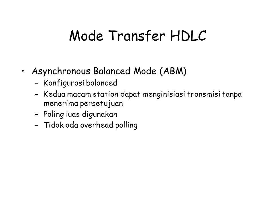Mode Transfer HDLC Asynchronous Balanced Mode (ABM) –Konfigurasi balanced –Kedua macam station dapat menginisiasi transmisi tanpa menerima persetujuan