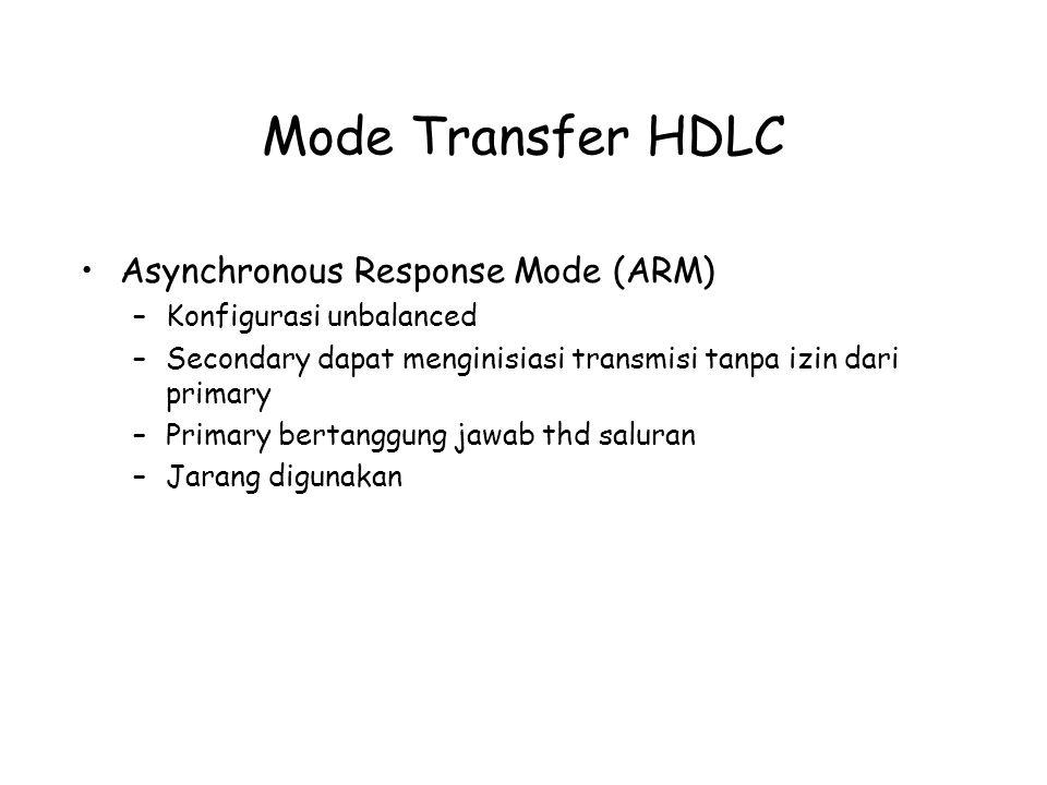 Mode Transfer HDLC Asynchronous Response Mode (ARM) –Konfigurasi unbalanced –Secondary dapat menginisiasi transmisi tanpa izin dari primary –Primary b