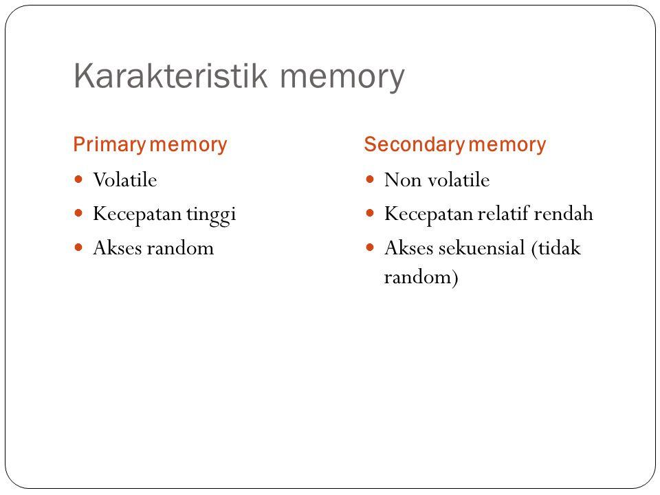 Karakteristik memory Primary memorySecondary memory Volatile Kecepatan tinggi Akses random Non volatile Kecepatan relatif rendah Akses sekuensial (tid